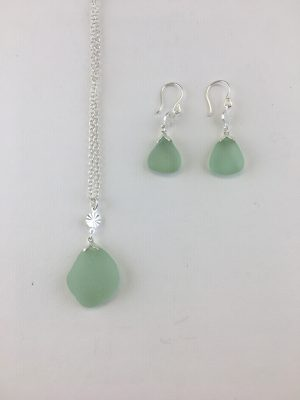 Green Sea Glass Single Dangle Earrings and Necklace