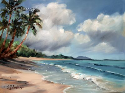 Gentle Windward Surf by Susie Anderson palms and surf in Hawaii