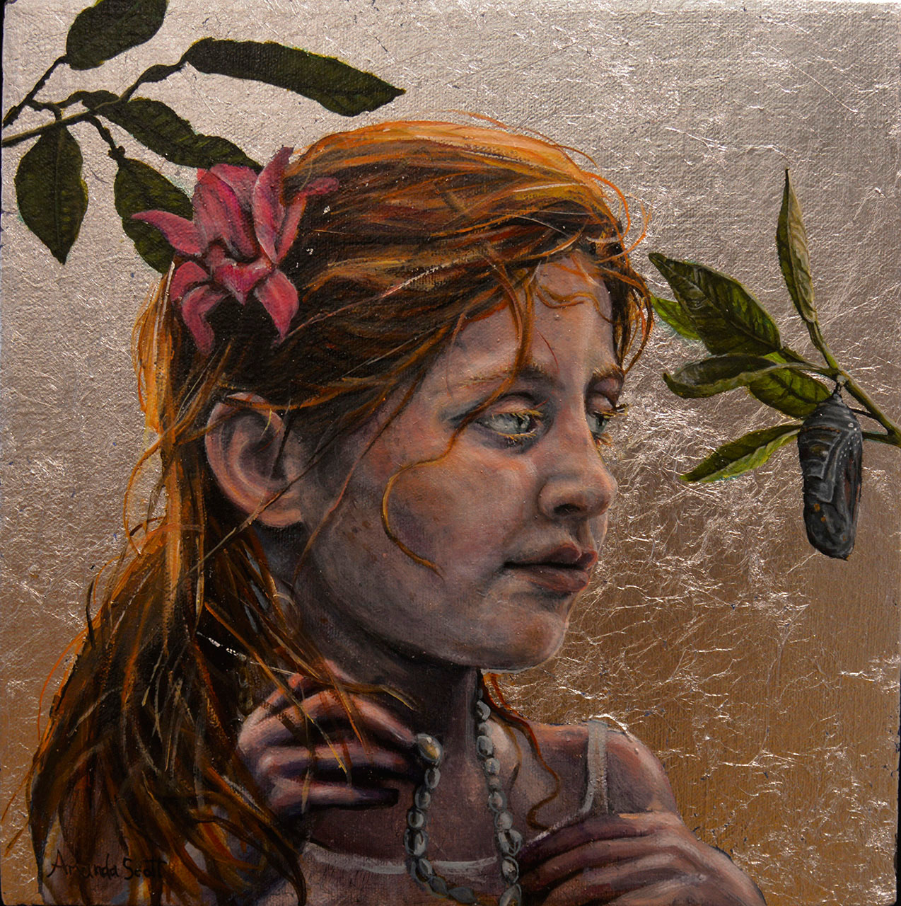 Gift of Patience by Amanda Scott Oil and silver leaf on canvas of woman waiting