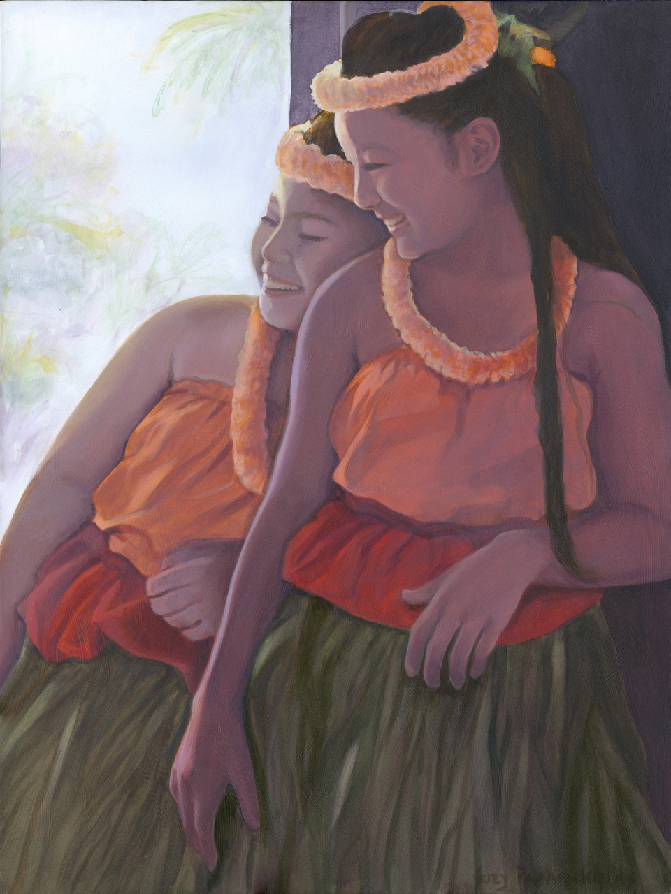 Two young sisters laughing while in their orange and red hula attire