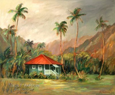 Hanalei Hideaway by Susie Anderson small bungalow under palms in Hawaii
