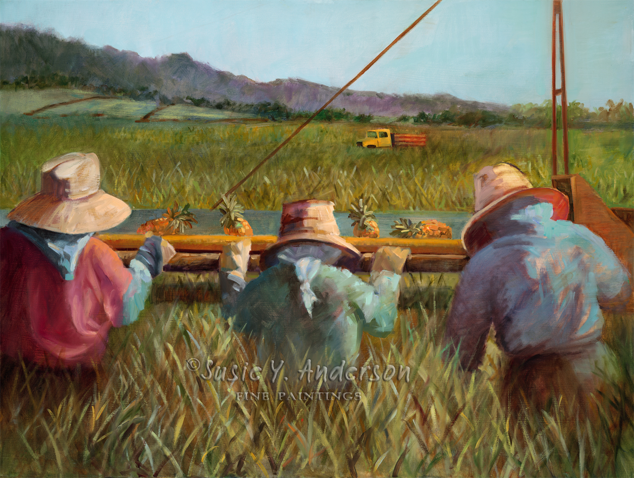 Harvest Time by Susie Anderson men harvesting in the fields in Hawaii