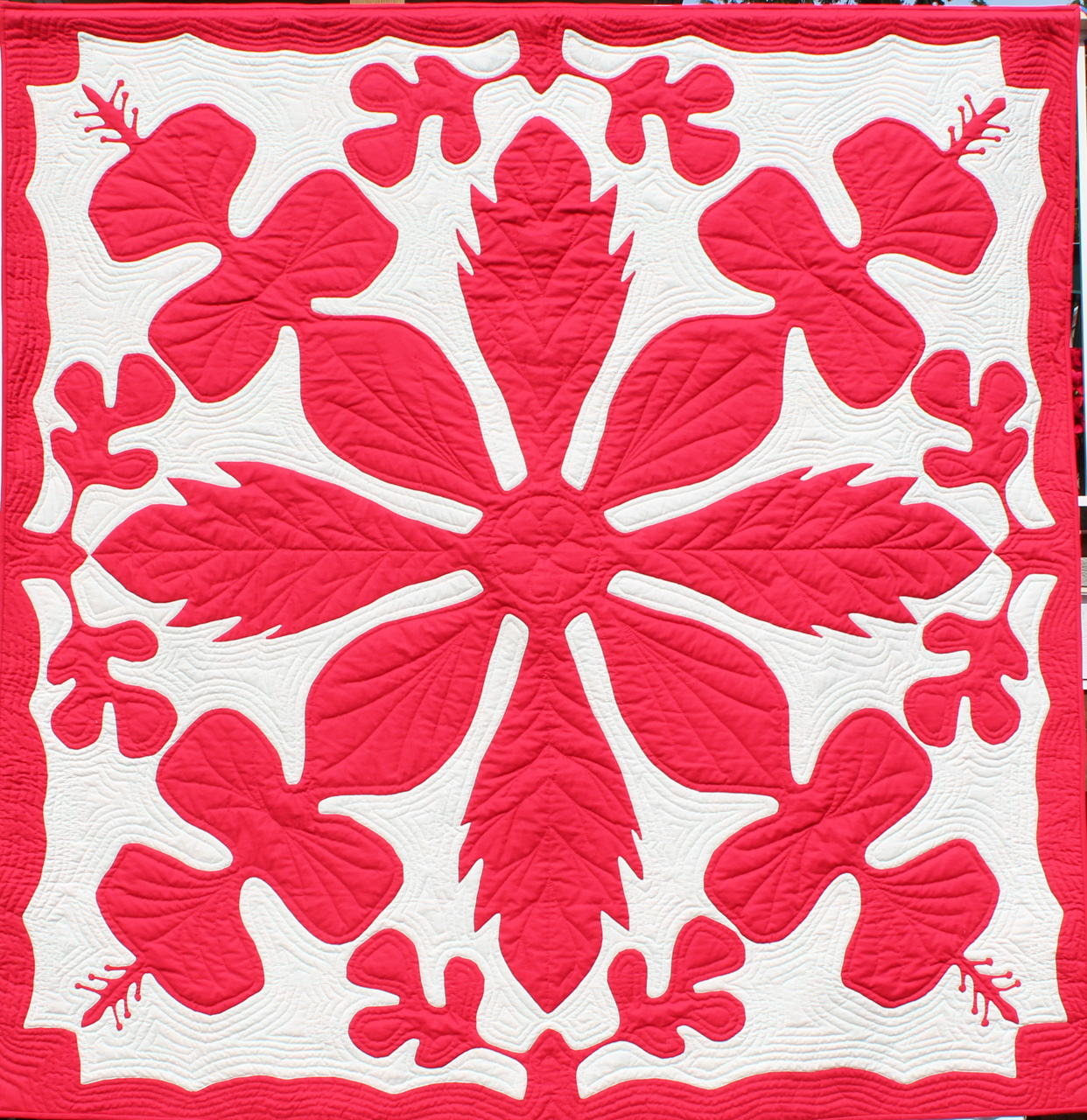 Hibiscus Quiltin Red and White by Noreen Tretick