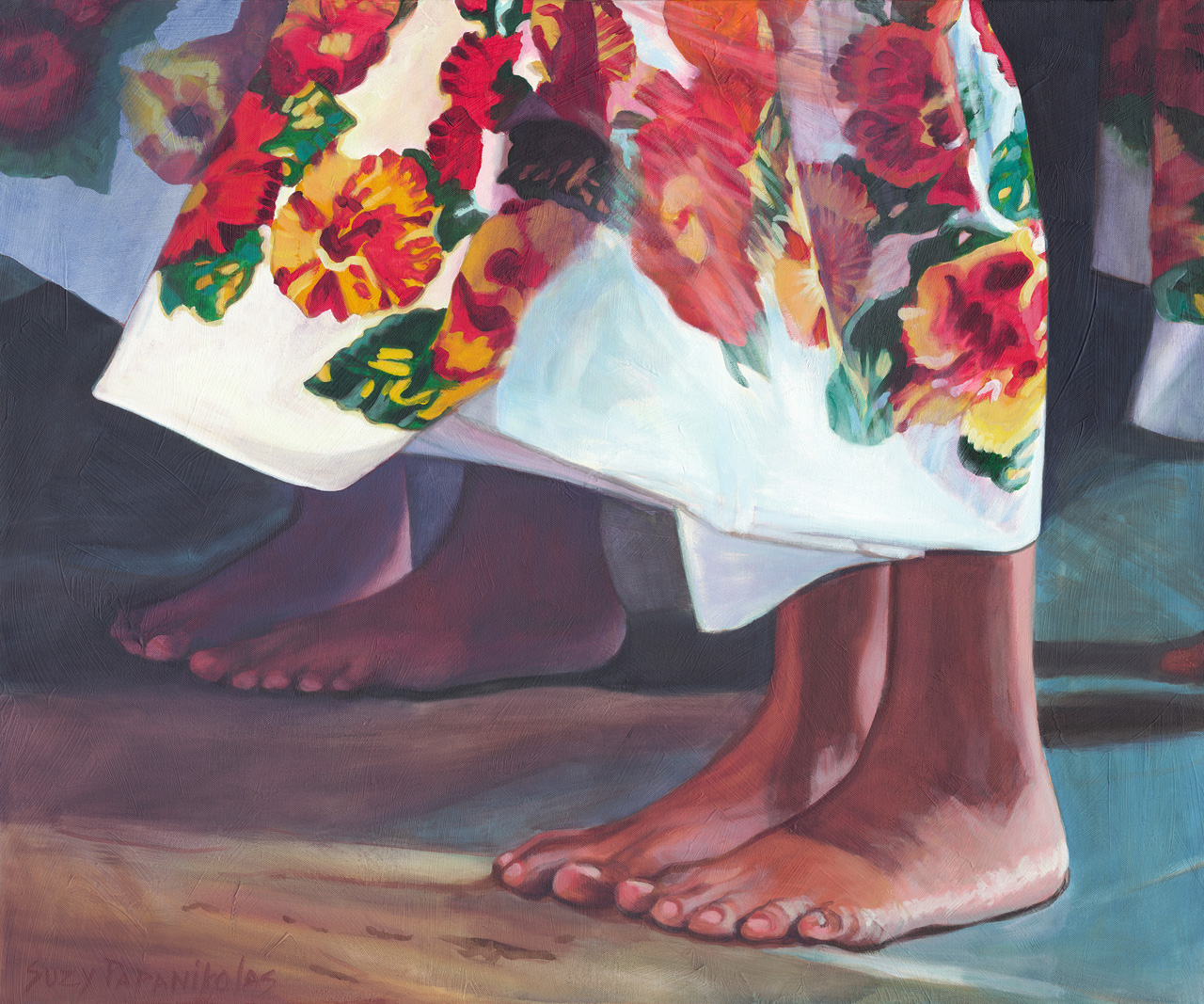 The feet of two hula dancers with a colorful hibiscus flower hula skirt