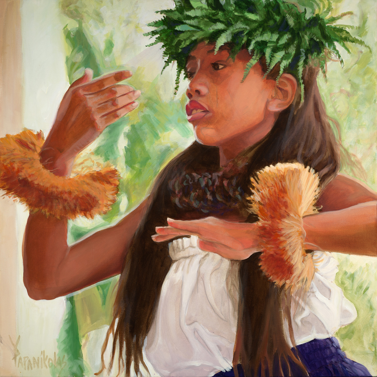 A young hula dancer in motion with a ti leaf head piece, and purple hula skirt