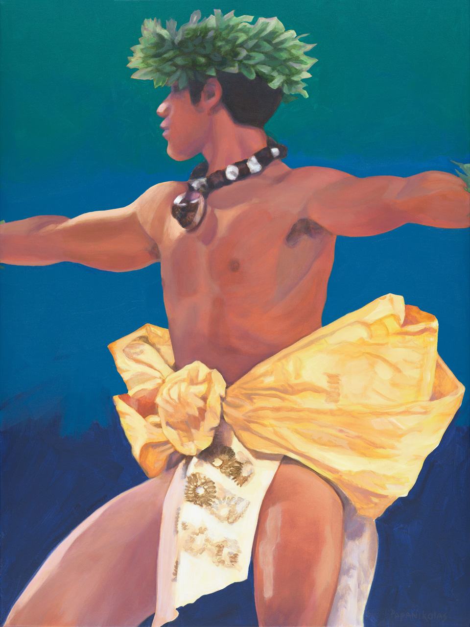 A male hula dancer in action with his arms spread open, wearing a yellow and while malo