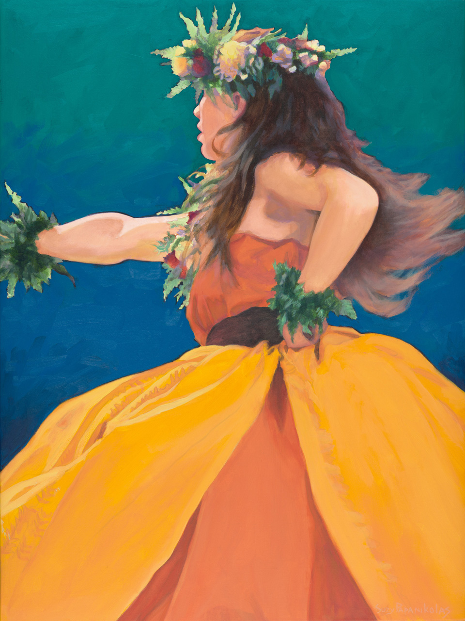 A female hula dancer in motion wearing yellow and orange with ti leaf additions and long brown hair