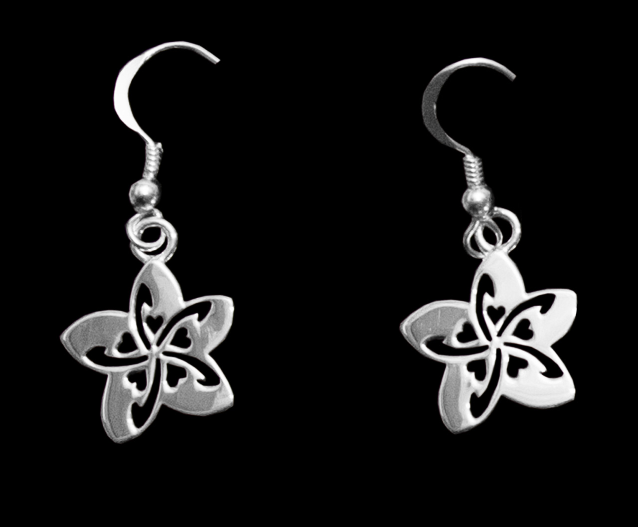 Sterling silver earrings plumeria flower with small heart cutouts