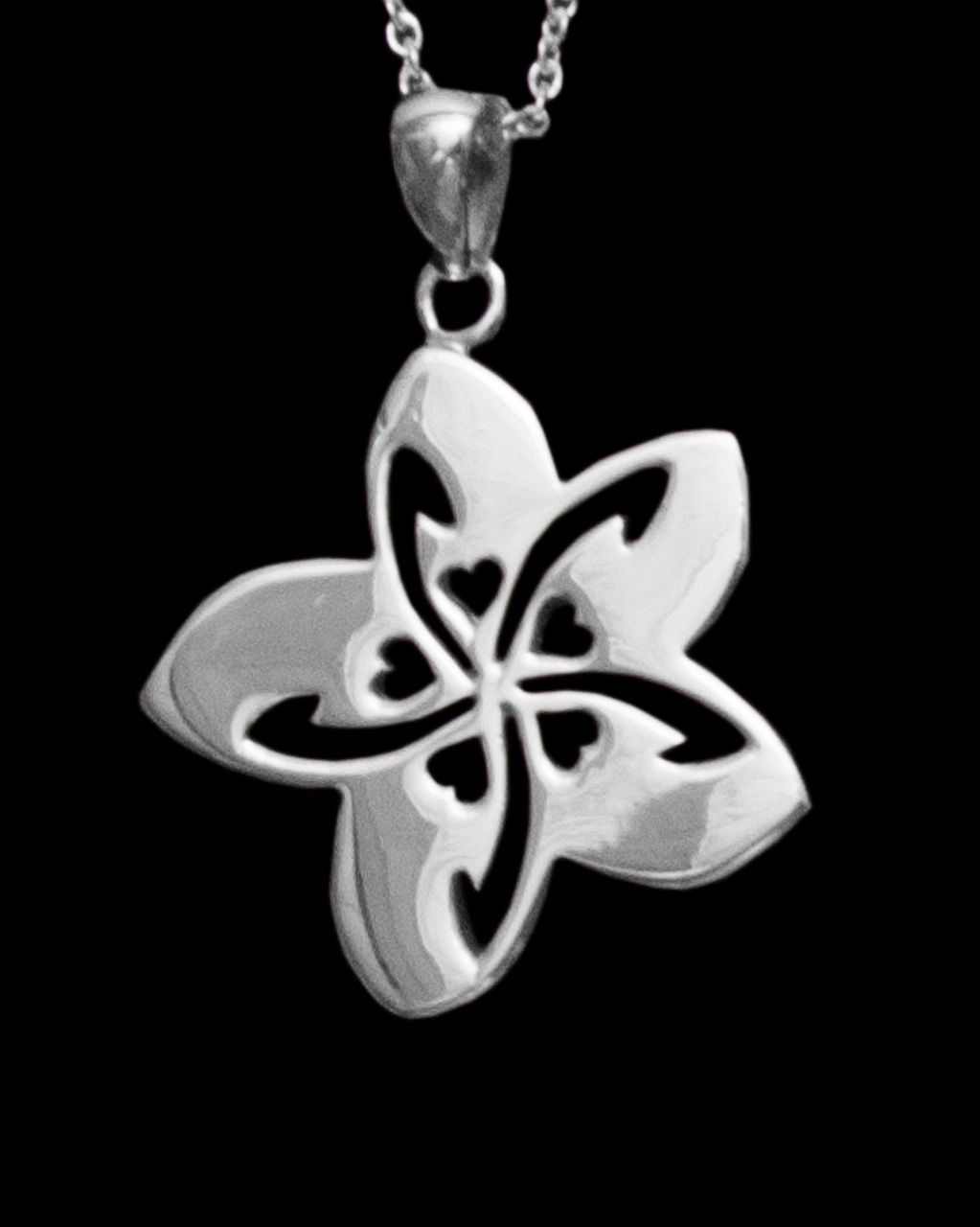 Sterling silver plumeria necklace large with small heart cutouts