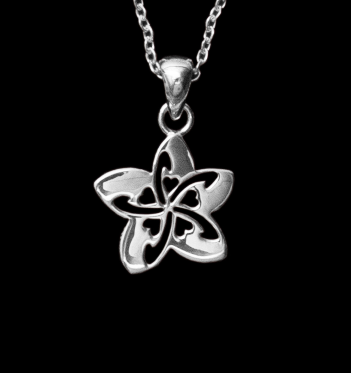 Sterling silver necklace small with heart cutouts