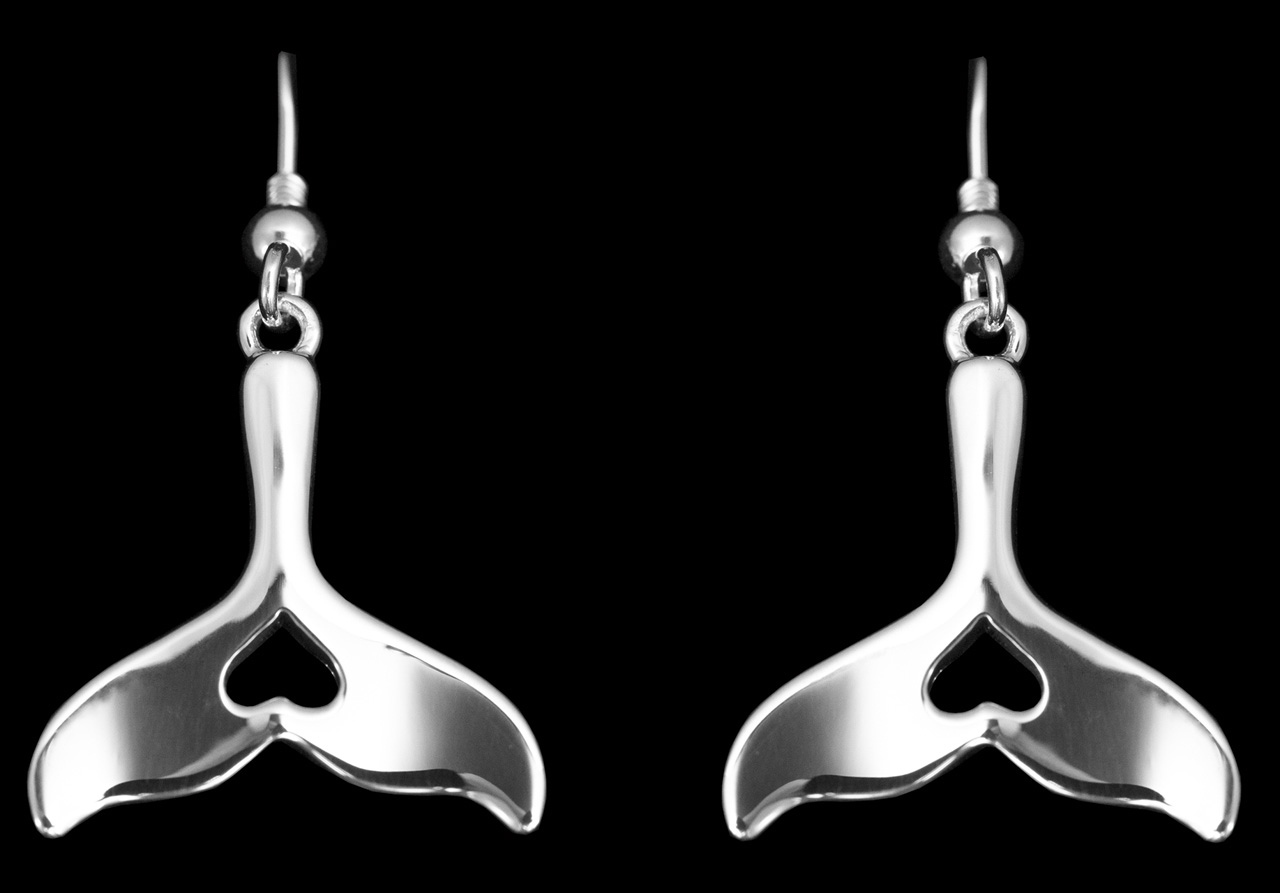 sterling silver whale tail earrings with heart shaped cutouts