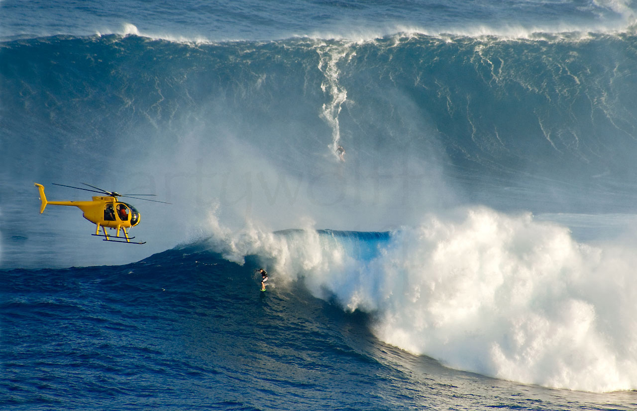 Jaws by Marty Wolff surfer riding big wave