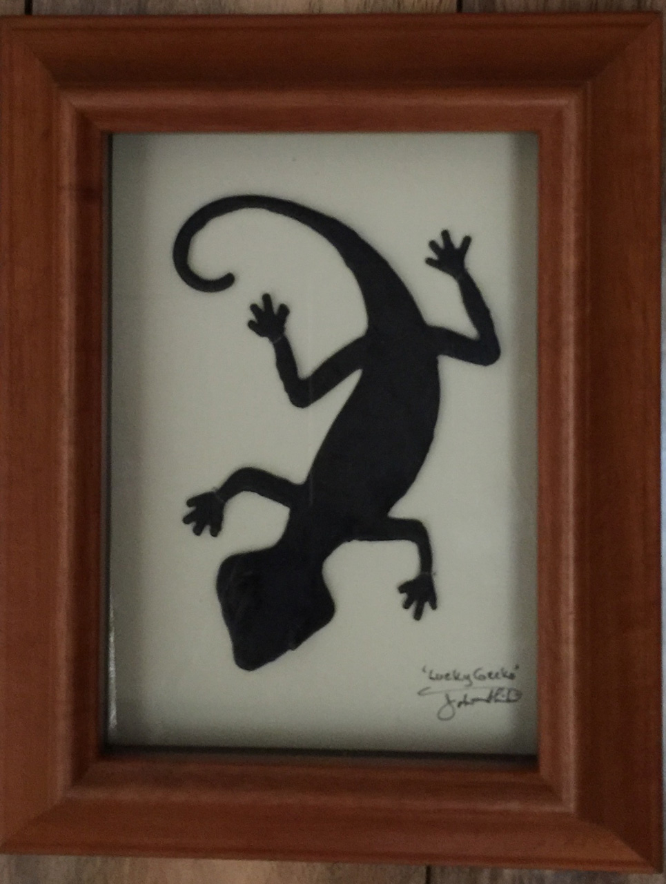 """Gecko"" Bronze/Pewter Framed Shadowbox Sculpture by John Ilnicki"