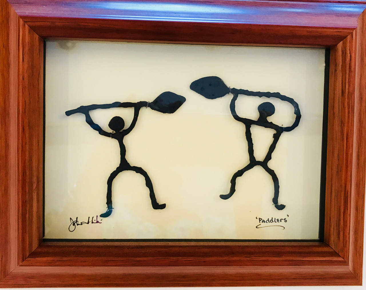 """Paddlers"" Bronze/Pewter Framed Shadowbox Sculpture by John Ilnicki"