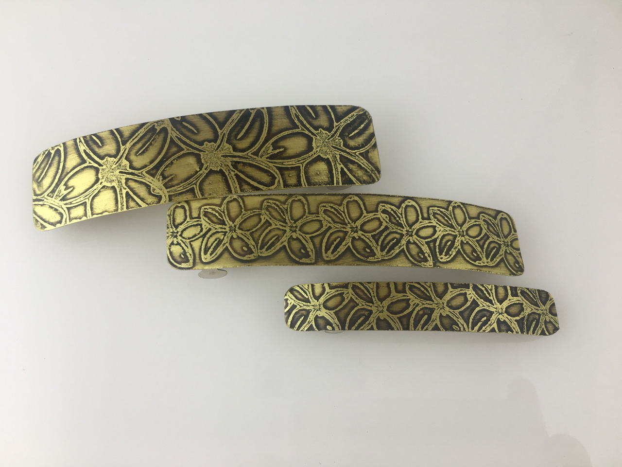 Brass Hair Barrettes Etched with Assorted Sizes and Hawaiian Designs by JoAnna Hernandez