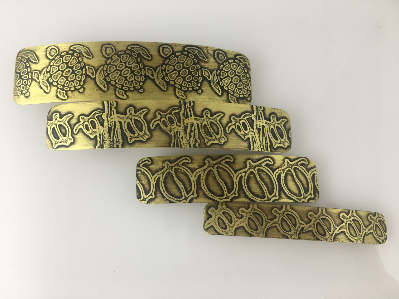 Brass Hair Barrettes in Assorted Sizes Etched with Hawaiian Honu (Turtle) Petroglyph Designs by JoAnna Hernandez