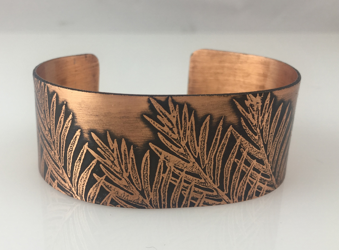 Copper Bracelet with Etched Ferns by JoAnna Hernandez