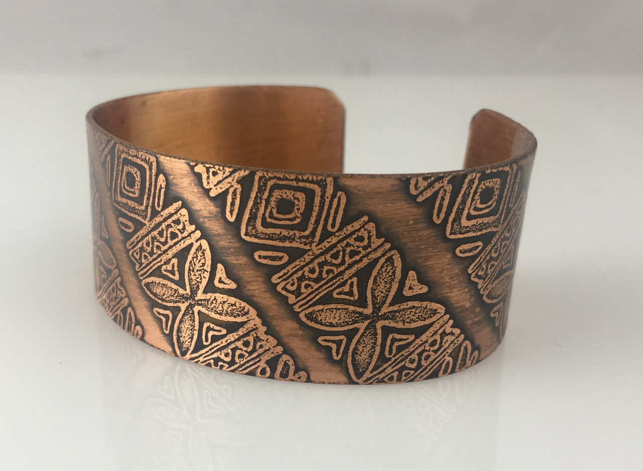 Copper Bracelet with Mulitple Etched Designs by JoAnna Hernandez