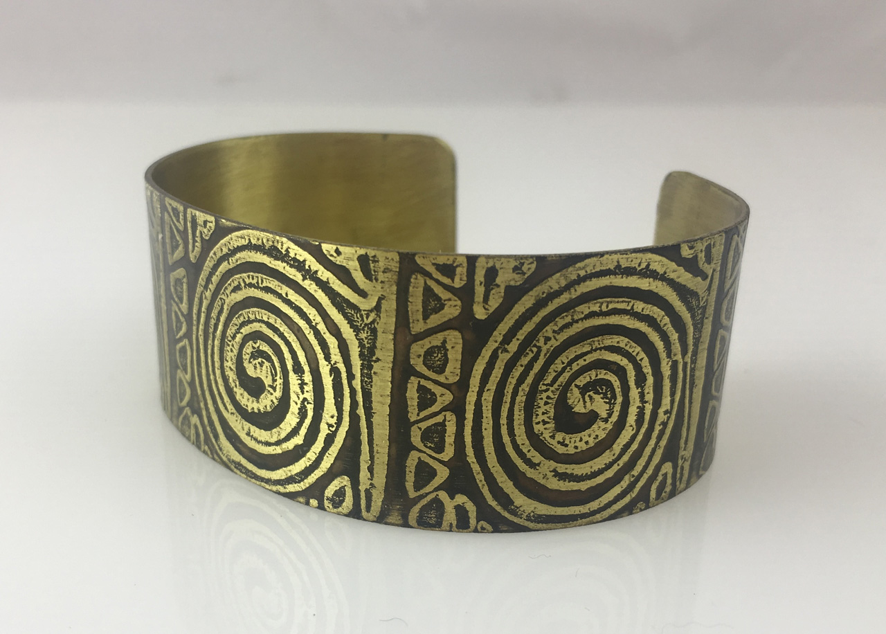 Brass Cuff with Etched Spirals by JoAnna Hernandez