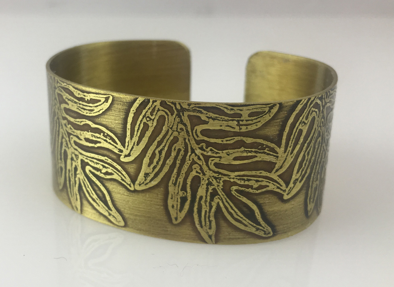 Brass Bracelet with Etched Ferns by JoAnna Hernandez