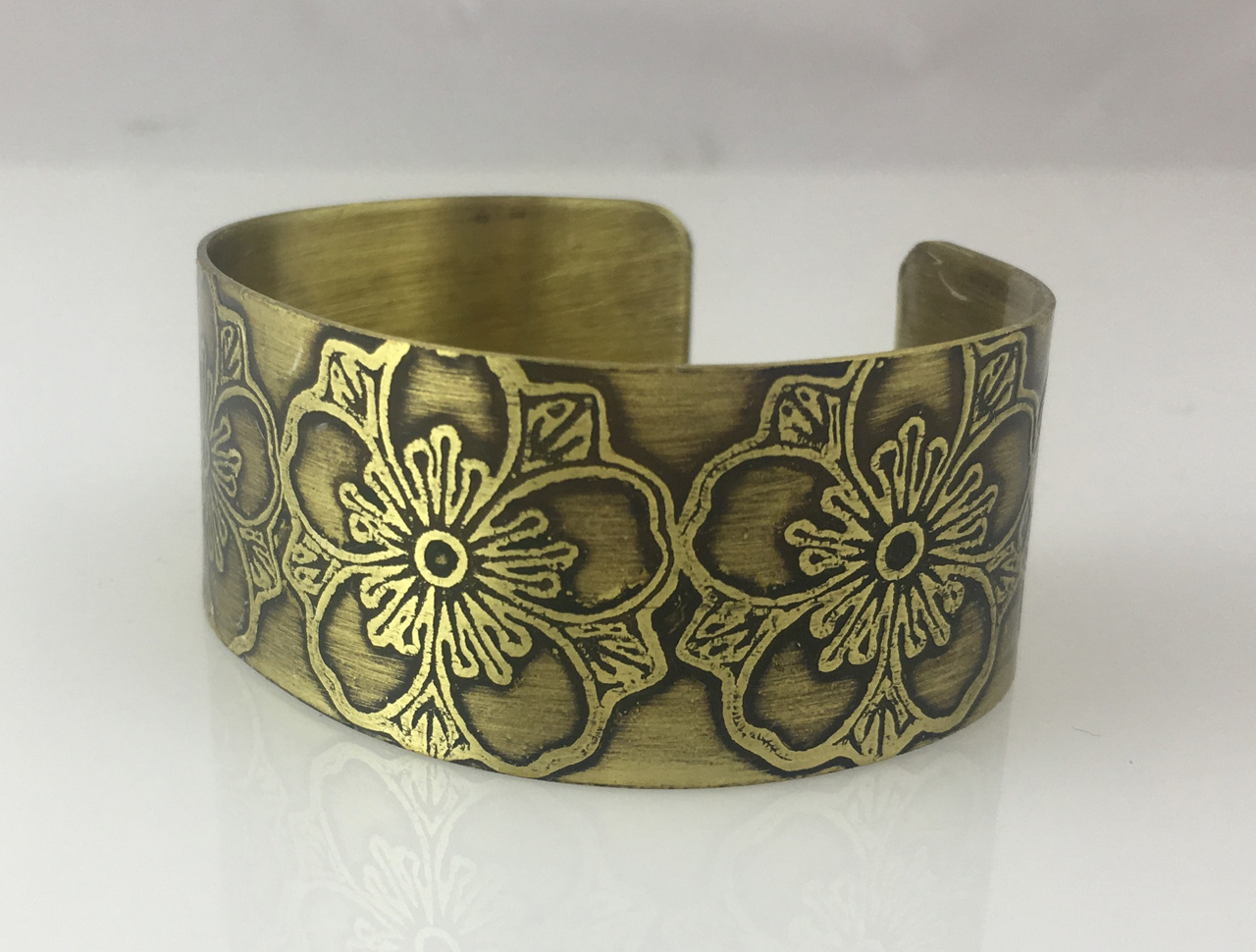 Brass Bracelet with Etched Flowers by JoAnna Hernandez