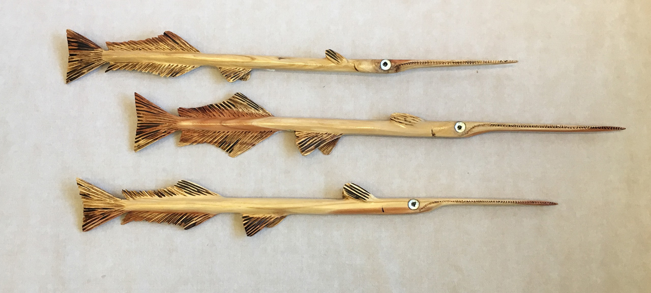 Stickfish of the Reef by Ken Darr wood sculptural wall hanging group of three fish