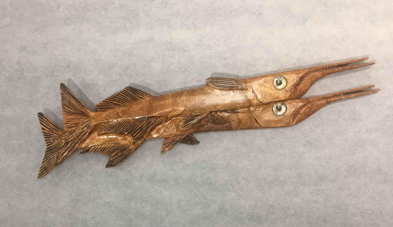 Double Fish by Ken Darr wood sculptural wall hanging