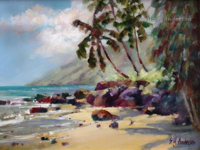 Kihei Palms by Susie Anderson palms and beach in Hawaii