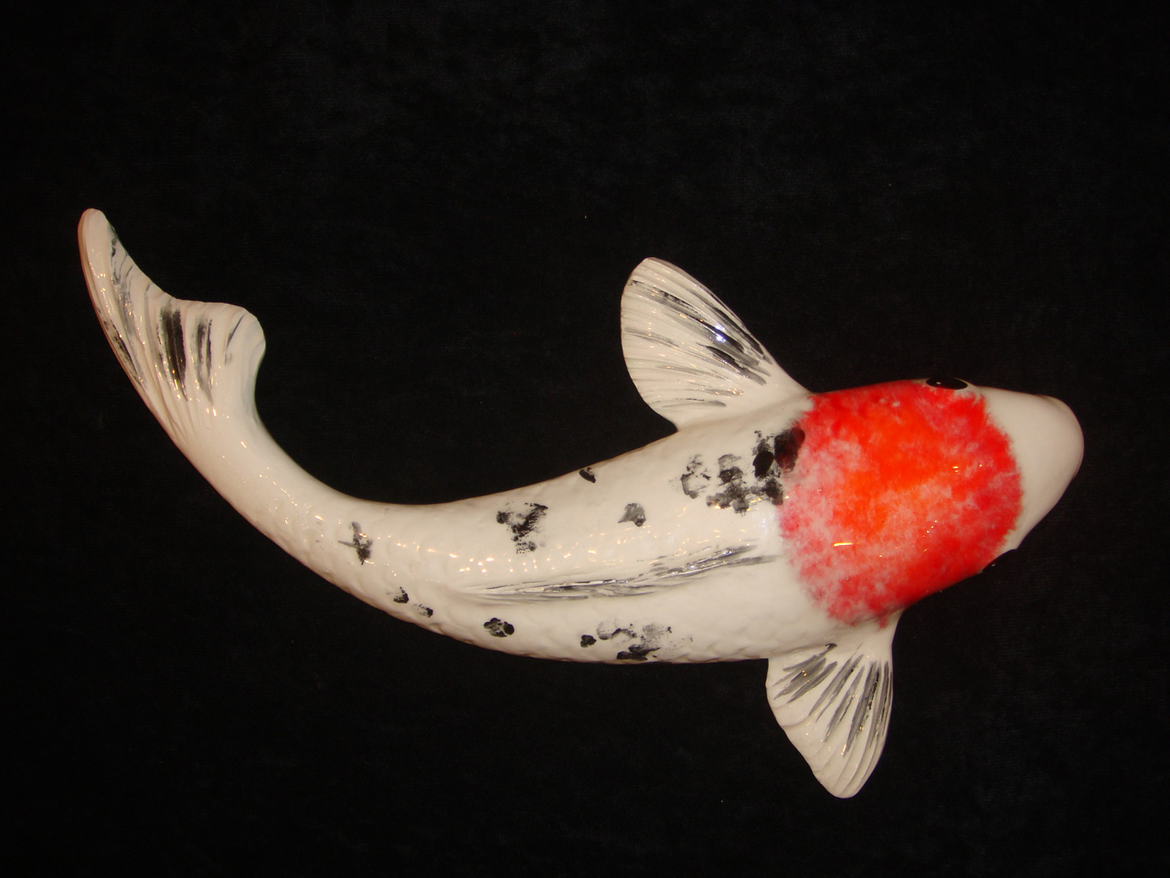 Ceramic Koi by Mark MacKay with dark orange highlight glase