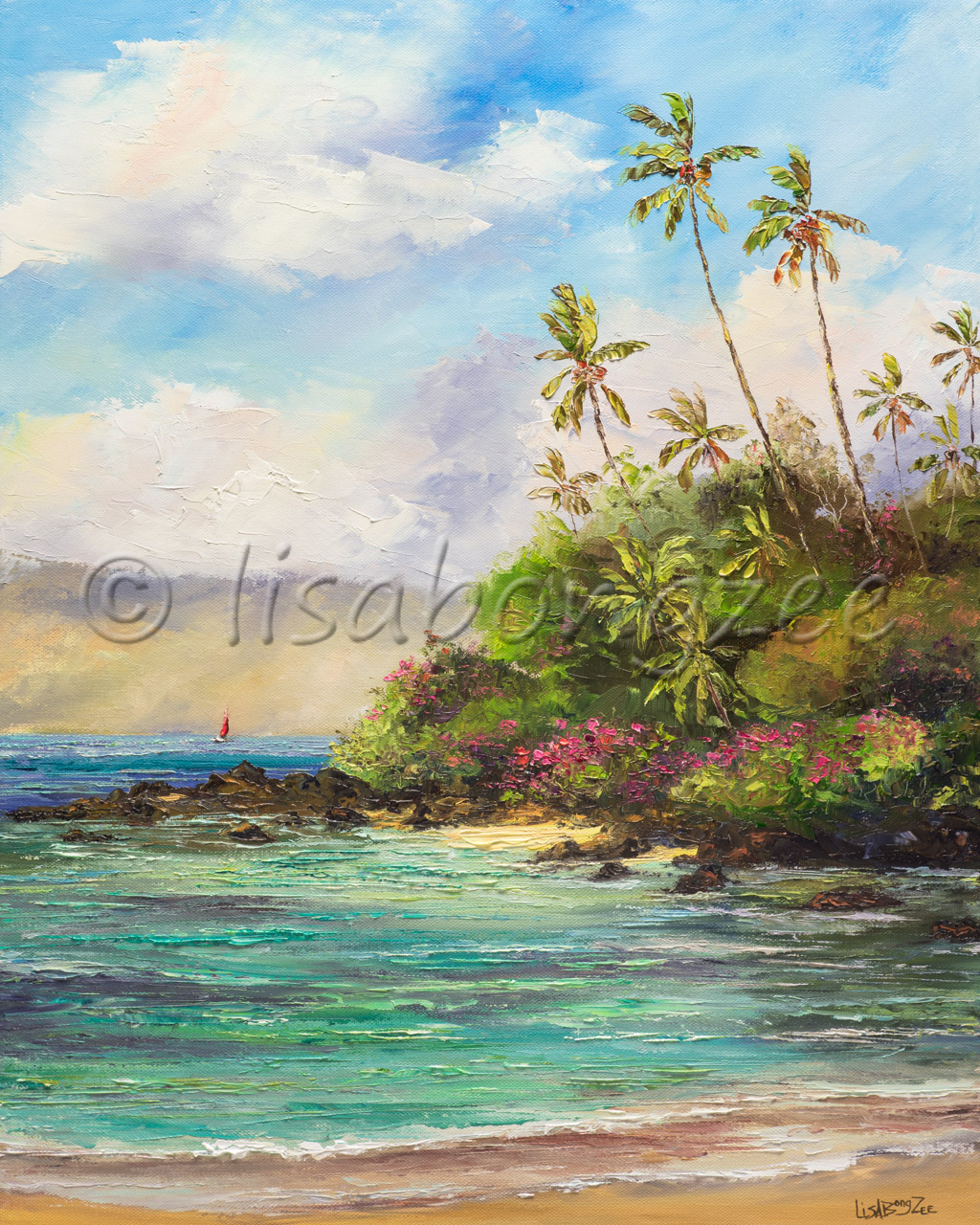 original oil gallery wrapped painting of an ocean with a hill on the right covered with trees and lush foliage