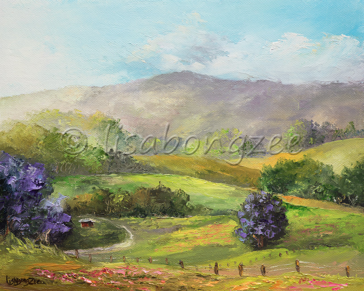 origial oil of a hilly pasture with lush green plans a three purple jacaranda plants