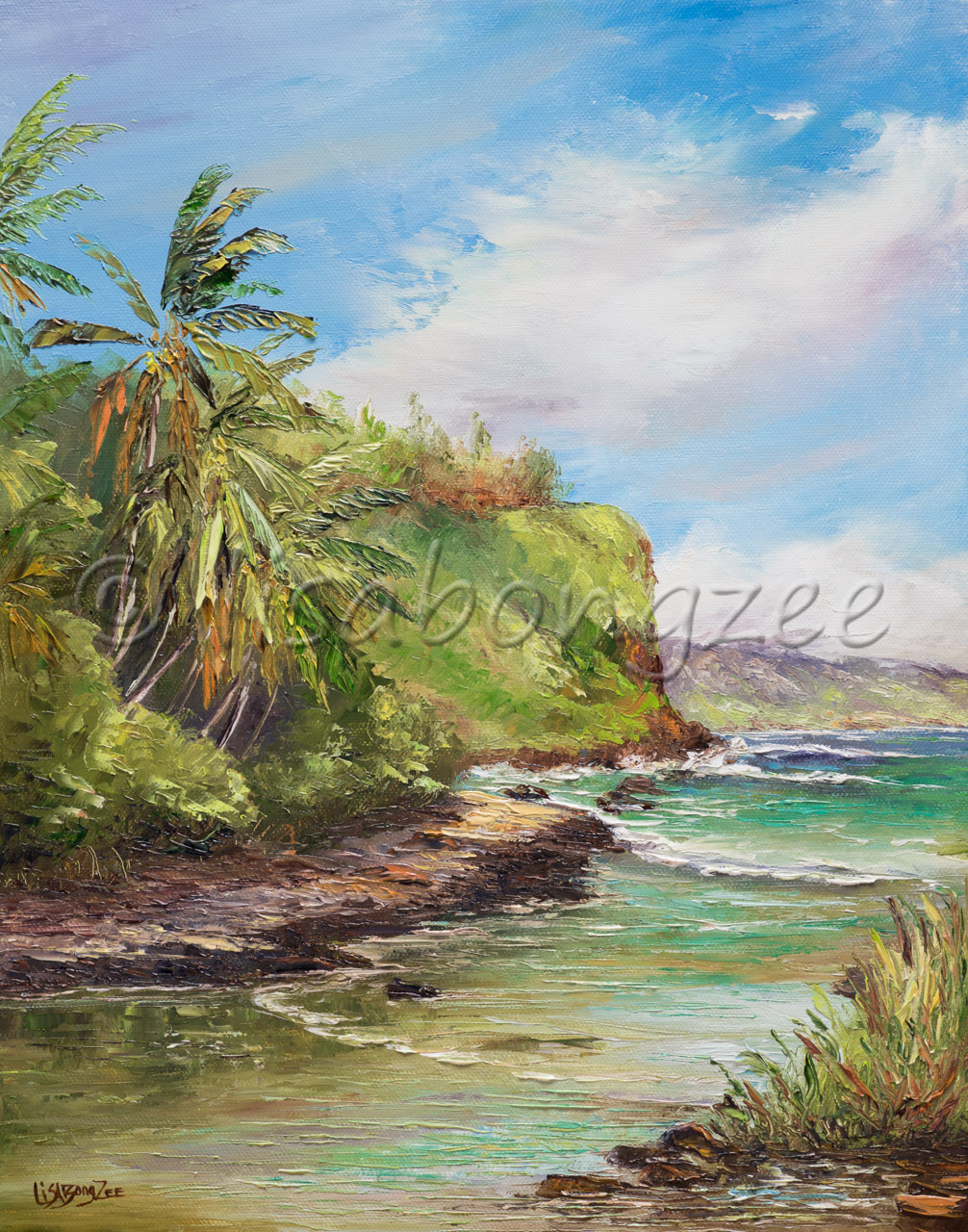 original oil of a beach next to a lush green mountain
