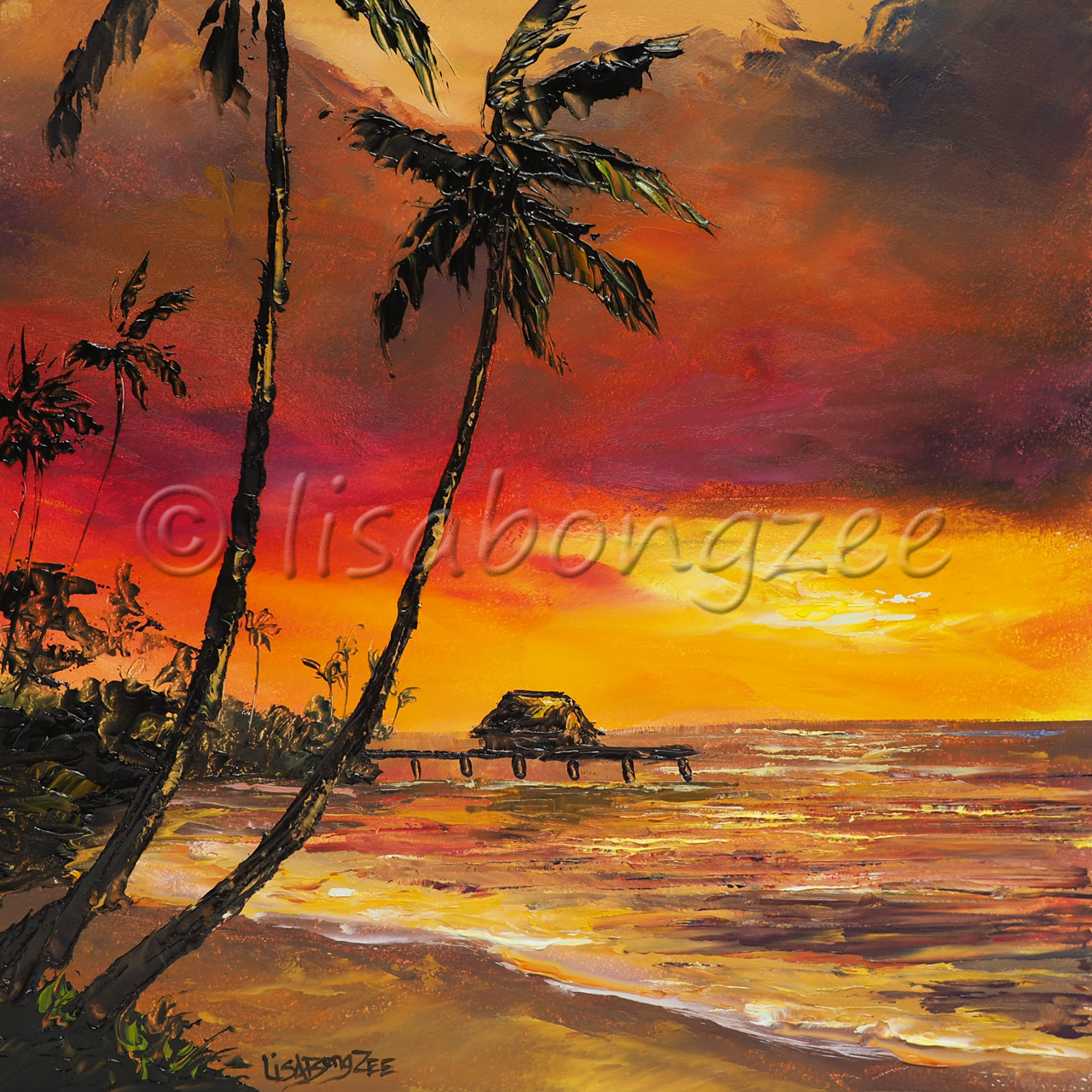 original oil of a sunset on beach. Vibrant red, orange, yellow, and purple in the sky. Trees and a pier are shadowed