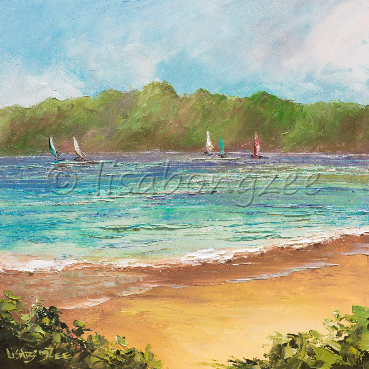 original oil painting of a calm beach with five various colored sail boats in the distance