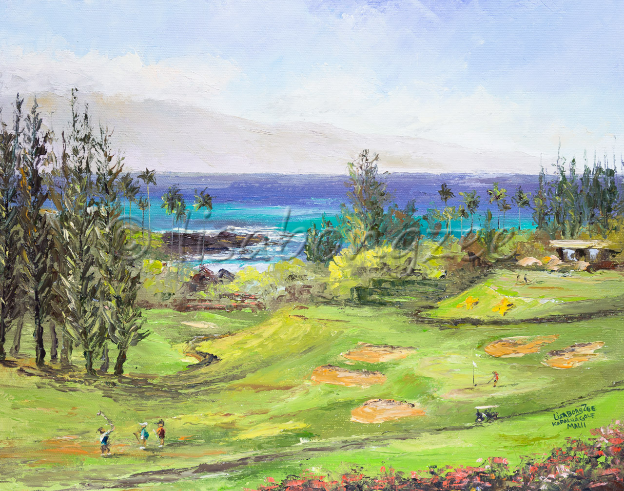 original oil painting of a golf course right next to the ocean. three golfers on the range