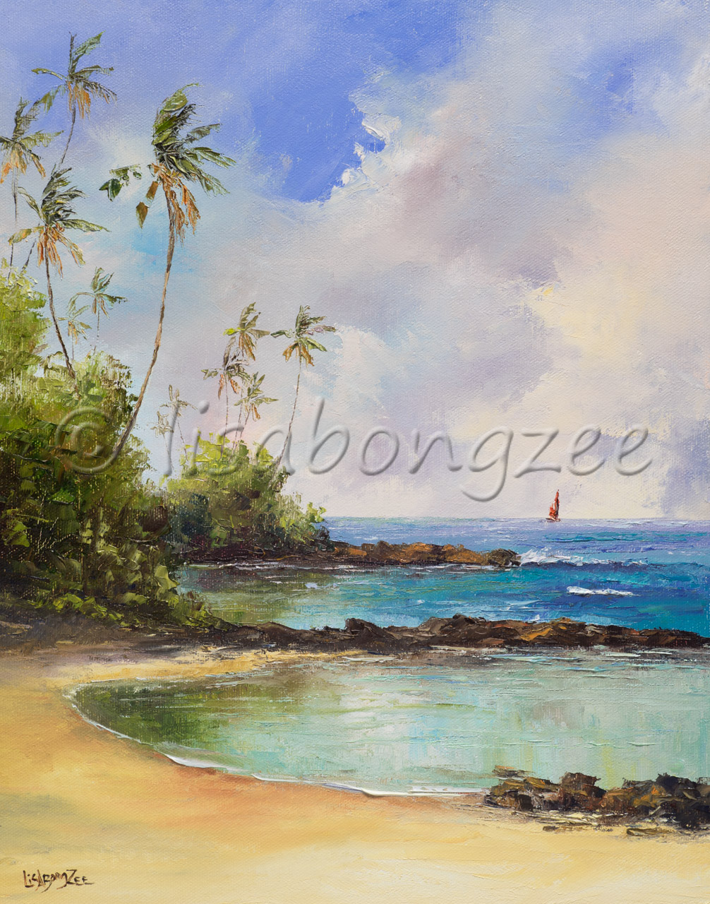original oil painting of a beach separating the ocean with a line of rocks and a single red sailboat in the distance