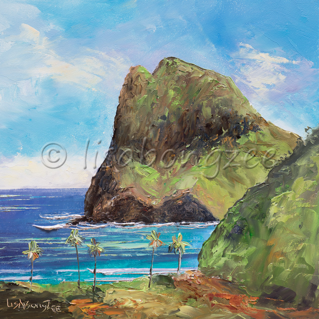 original oil of Kahakuloa Maui. A very large rock in the ocean covered in grass and plants. A deep blue ocean surrounding it and palm trees lining the shore