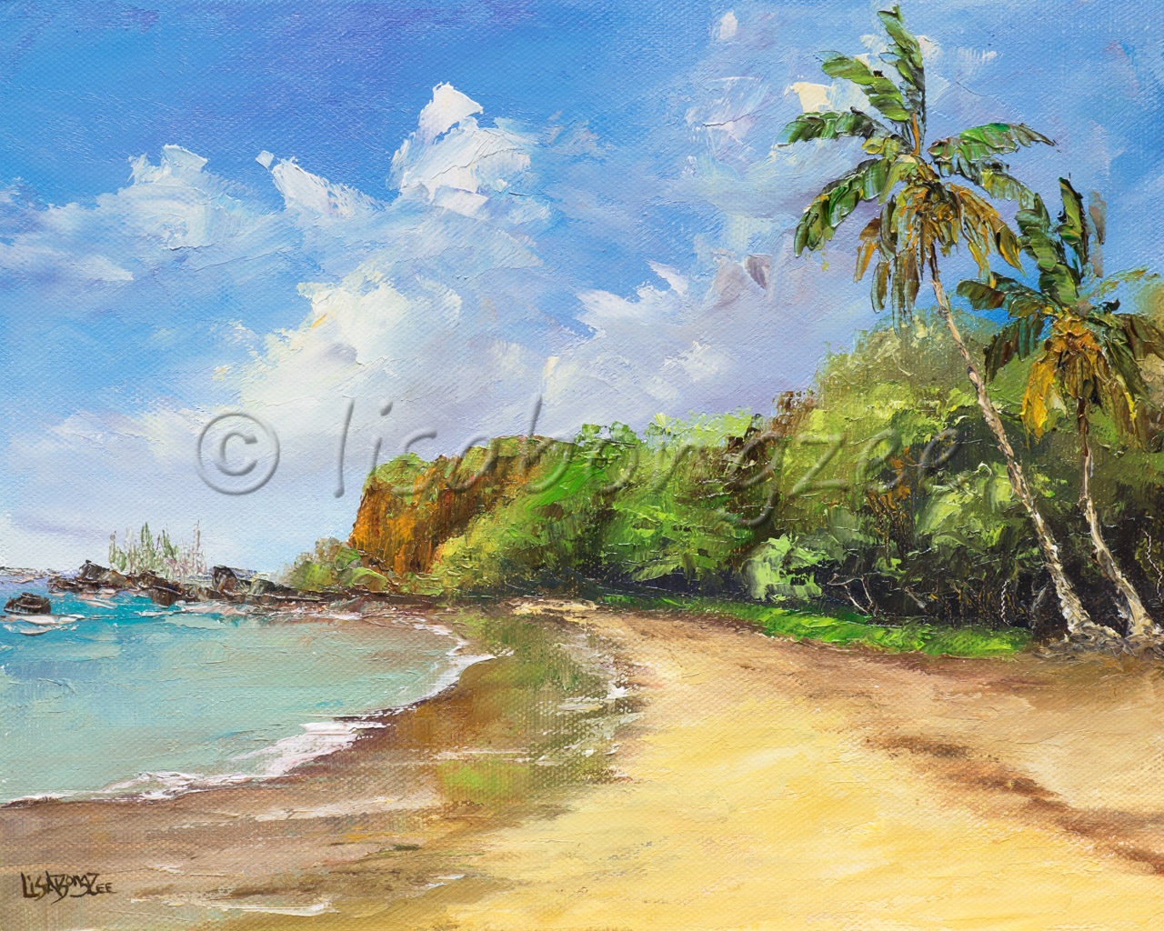 original oil of Hamoa beach in Hana Maui. An empty beach with trees and bushes lining shore and a single palm tree to the right.