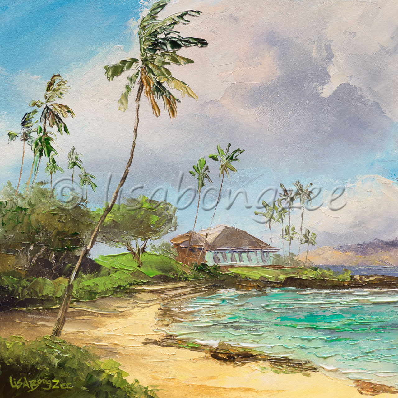 original oil of a palm tree lined beach with teal water and a house next to shore