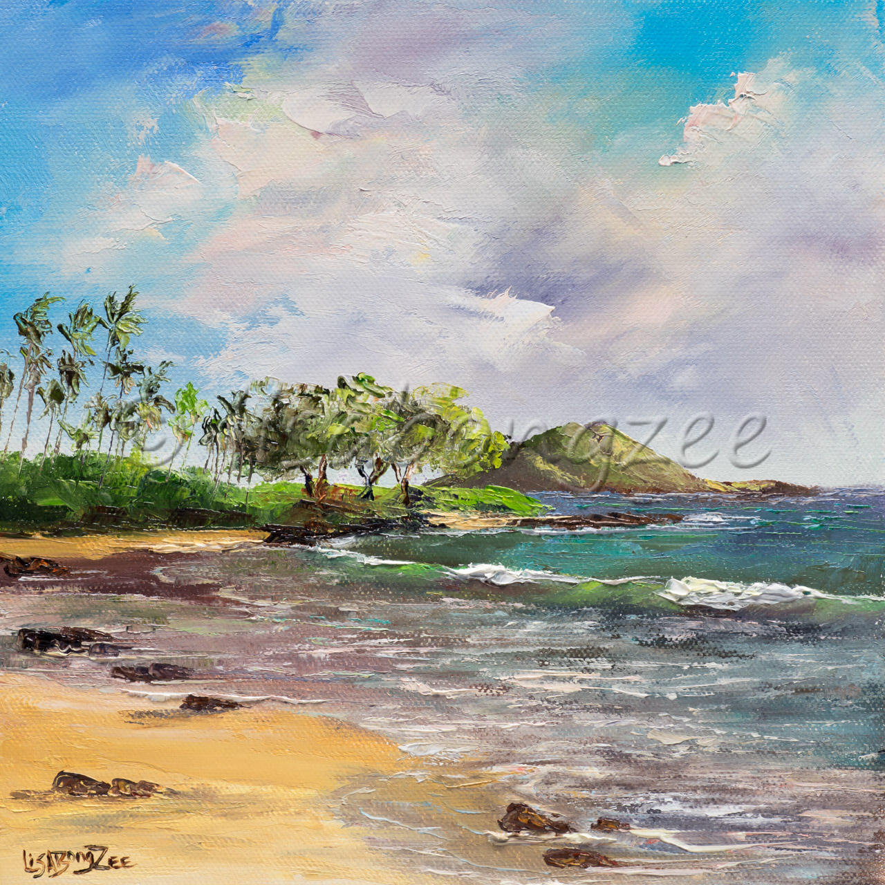 original oil of Polo beach Maui, ocean with trees and a bright cloudy sky
