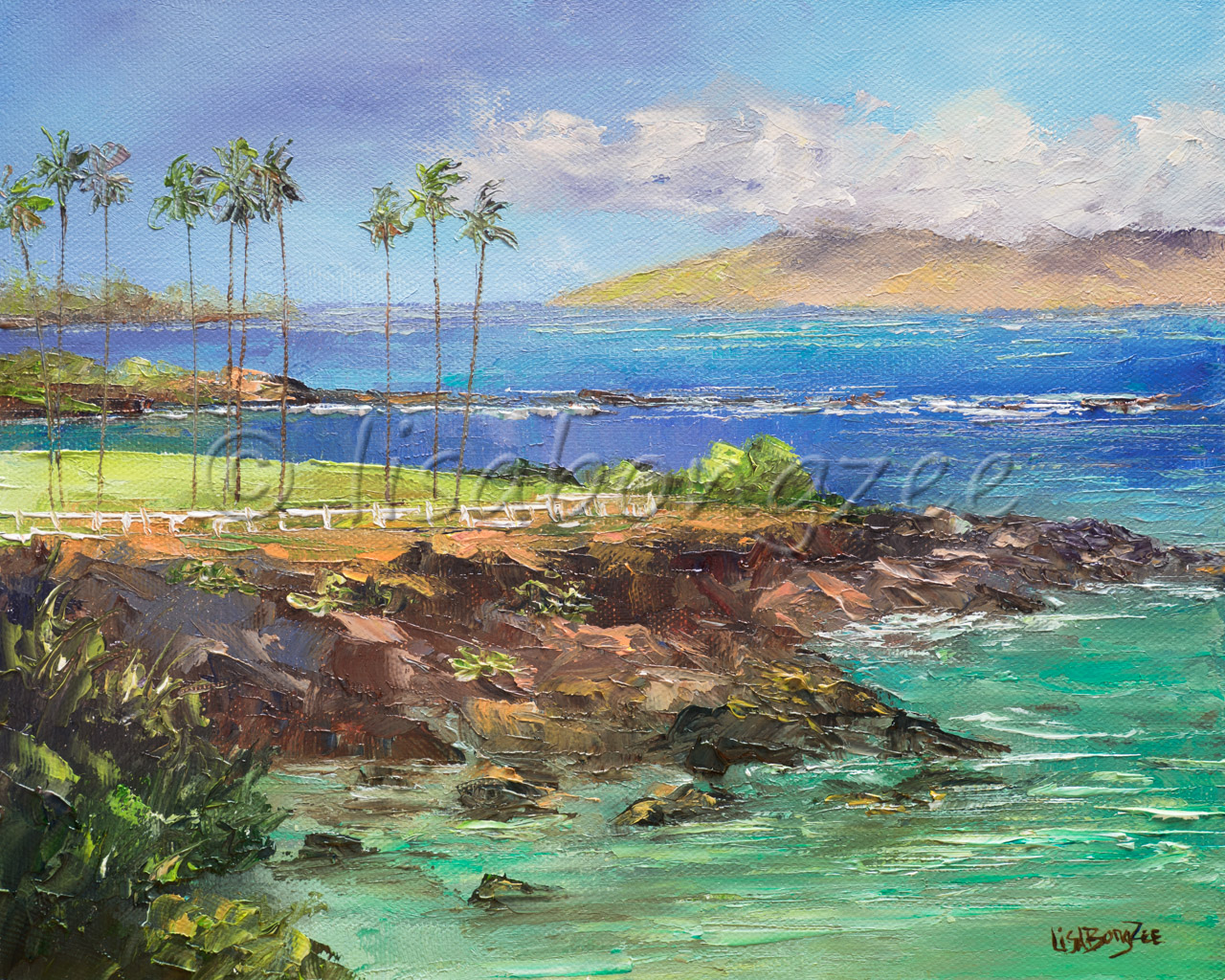 original oil of teal sea foam ocean and a dark blue ocean in the distance. Mountains in the background and tall palm trees in the distance. Rocks line the shore