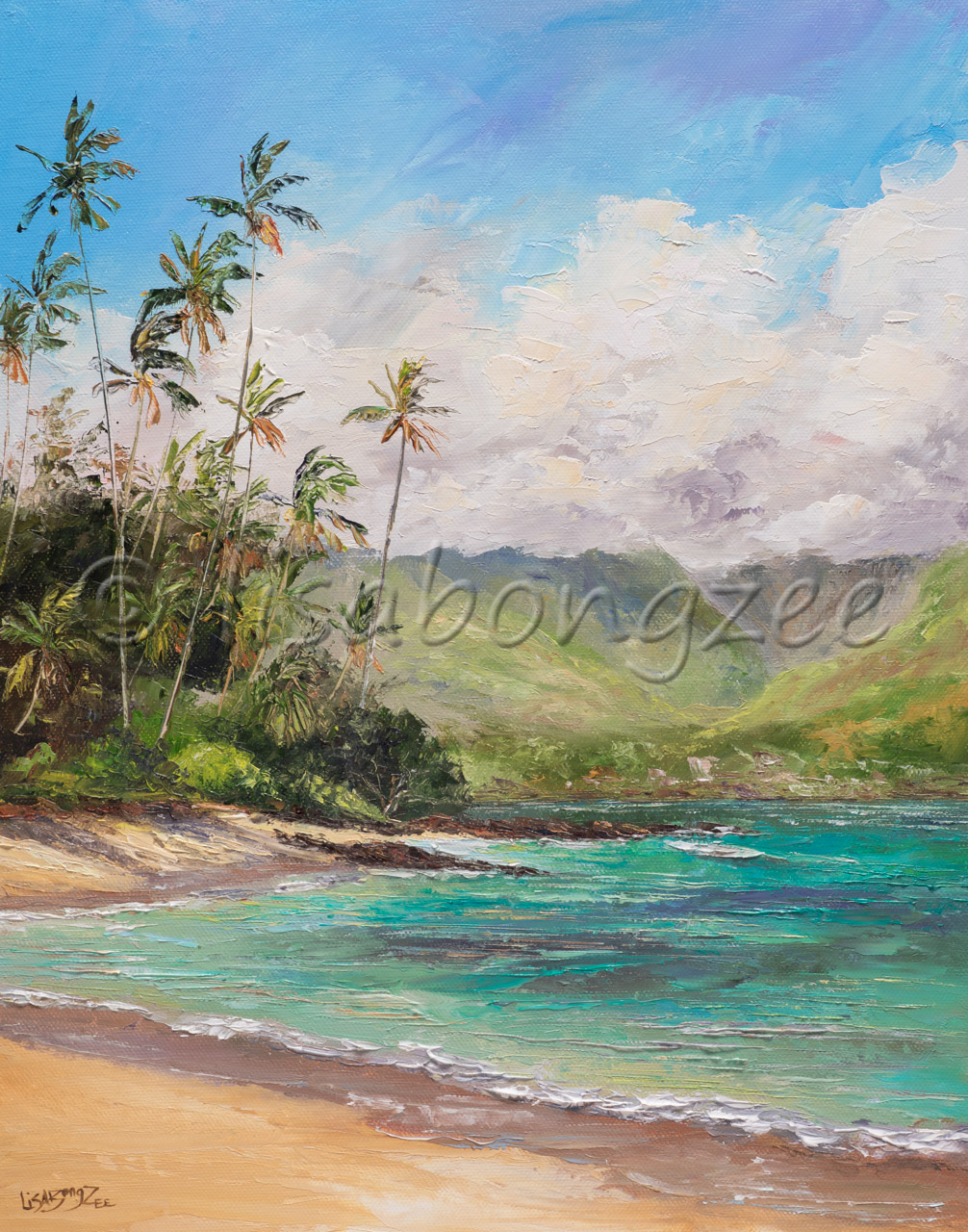 original oil of a calm teal ocean with multiple palm tress and mountain view to the left.
