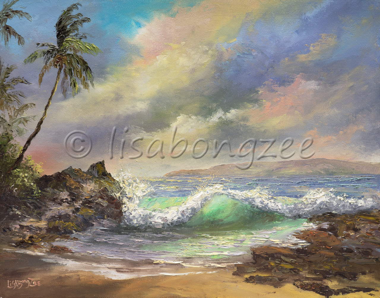original oil of a single wave crashing onshore of a beach lined with lava rock and a single palm on the left hand side. Pastel colored clouds cover the sky