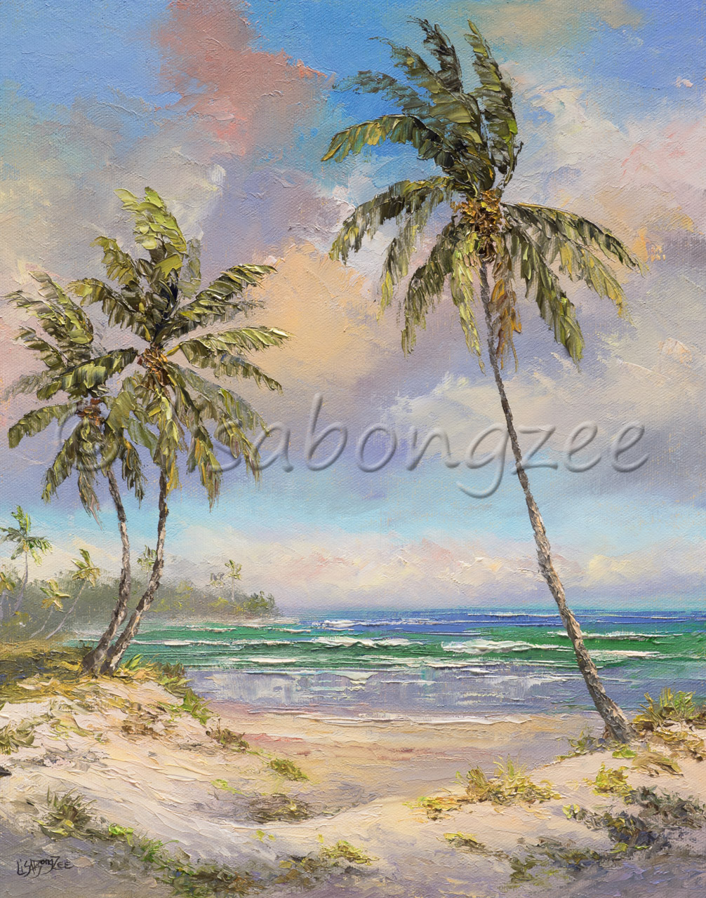 original oil painting of three palm trees on a sandy beach with pastel skies and waves crashing offshore
