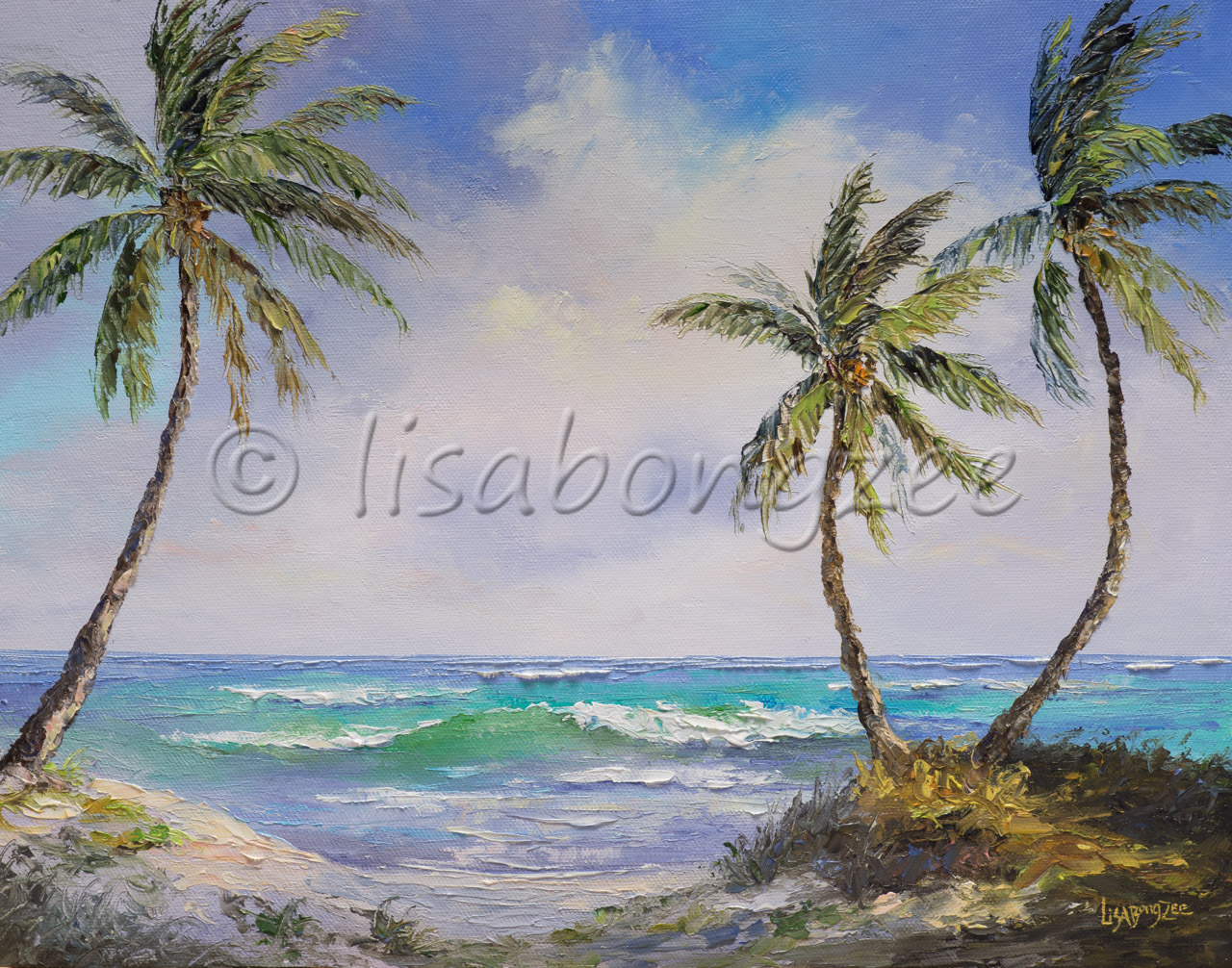 original oil painting of three palm trees next to shore with a few waves in the disance