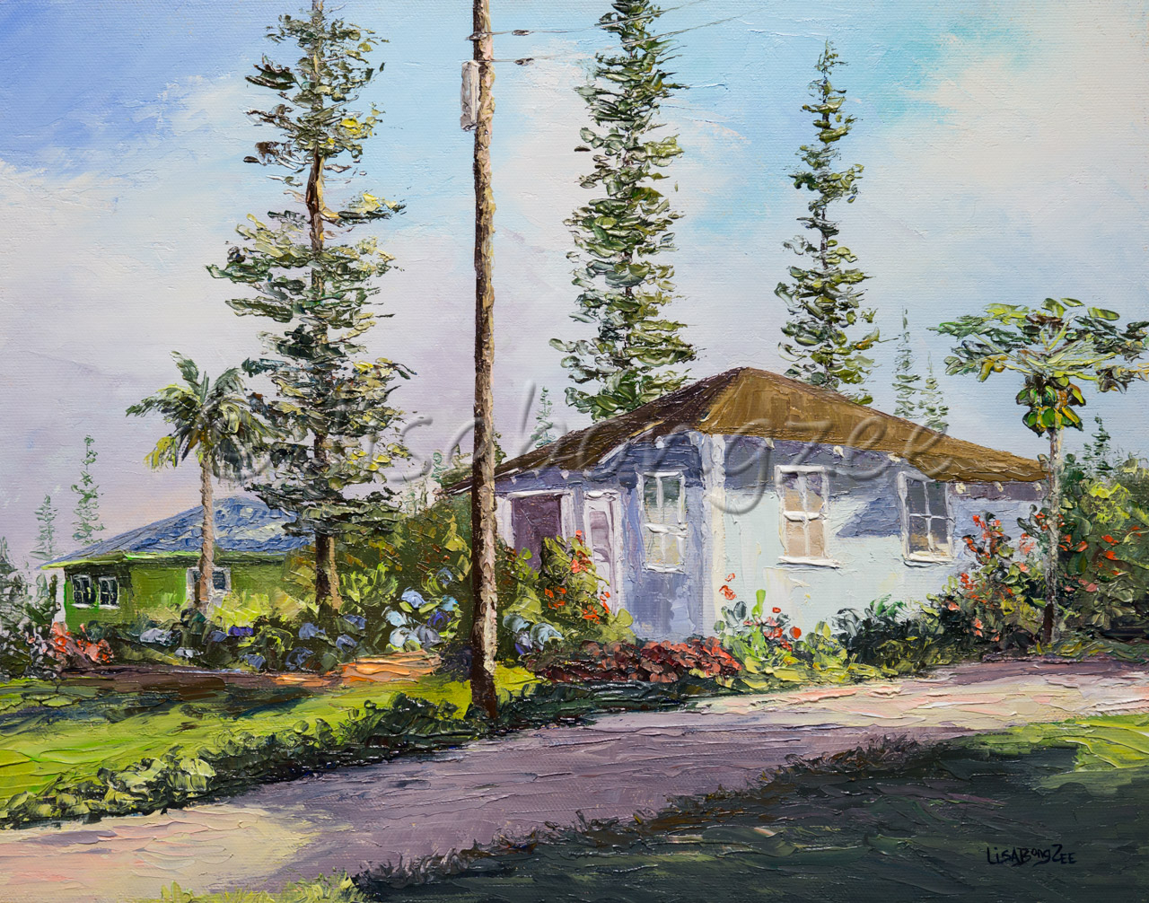 original oil painting of a lavender colored house and a pathway surrounded by grass, trees and other plants