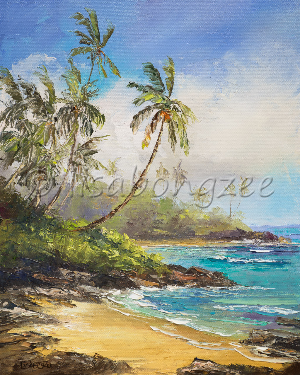 original oil painting of a calm beach lined with rocks, grass, and palm trees