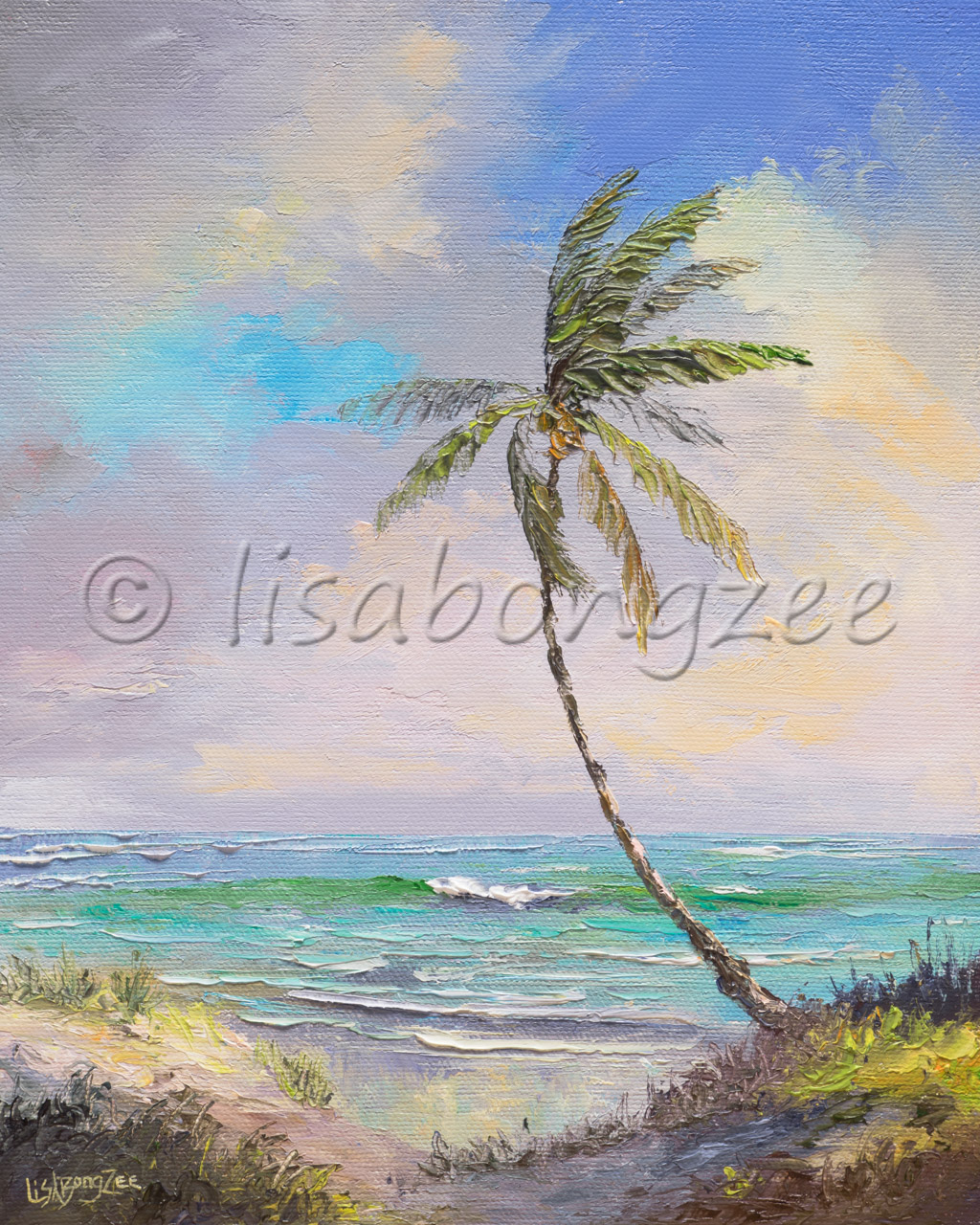 original oil of a single palm tree next to shore with a pastel sky and sea foam ocean with a wave in the distance