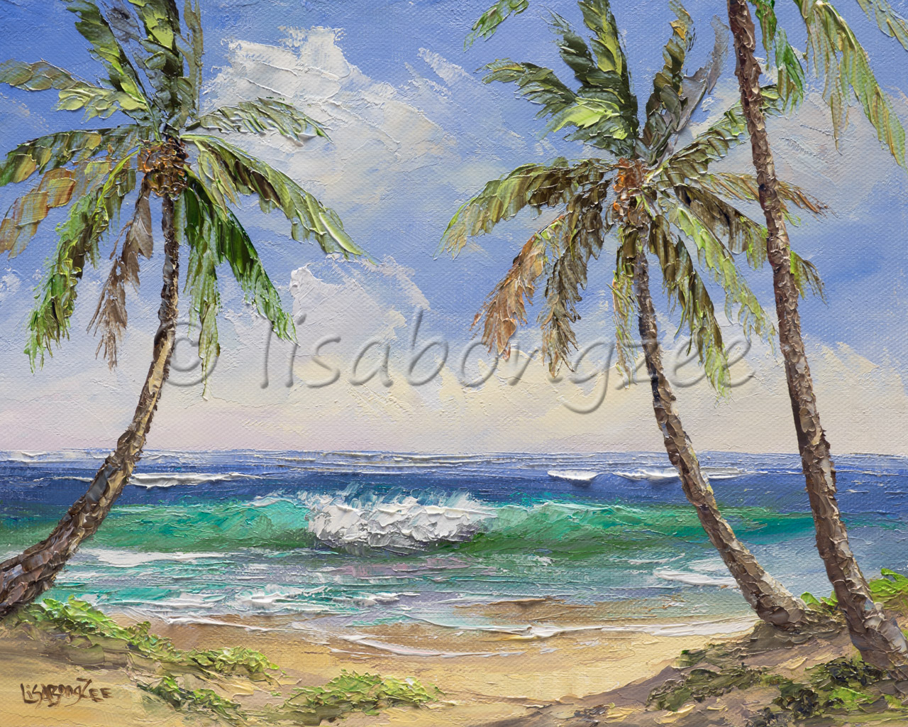 original oil of a wave crashing off shore and three palm trees on the beach