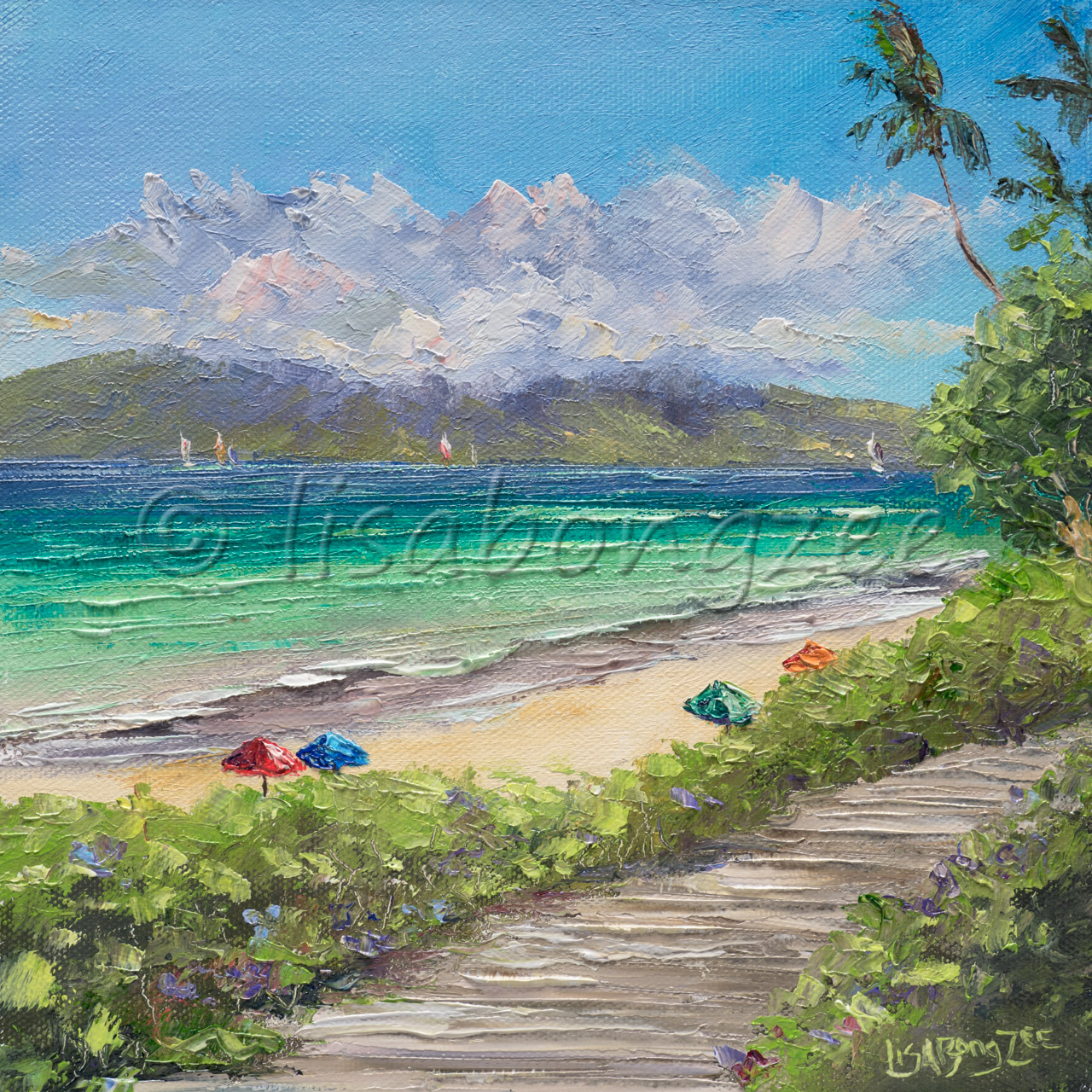 original oil painting beach with colorful umbrellas, teal ocean, beach path lined with plants, and an island in the distance with clouds